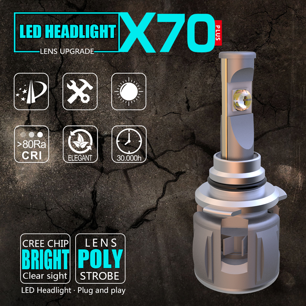 LOAUT XP70 CR-EE Chips H1 H4 H7 H11 H13 9004 9005 9006 9012 5202 D4C Car LED Headlight Bulbs Hi-Lo Beam 50W 8000LM 6000K 24V 1 pair dc 9 36v h4 cob 80w led car headlight kit hi lo beam bulbs 6000k