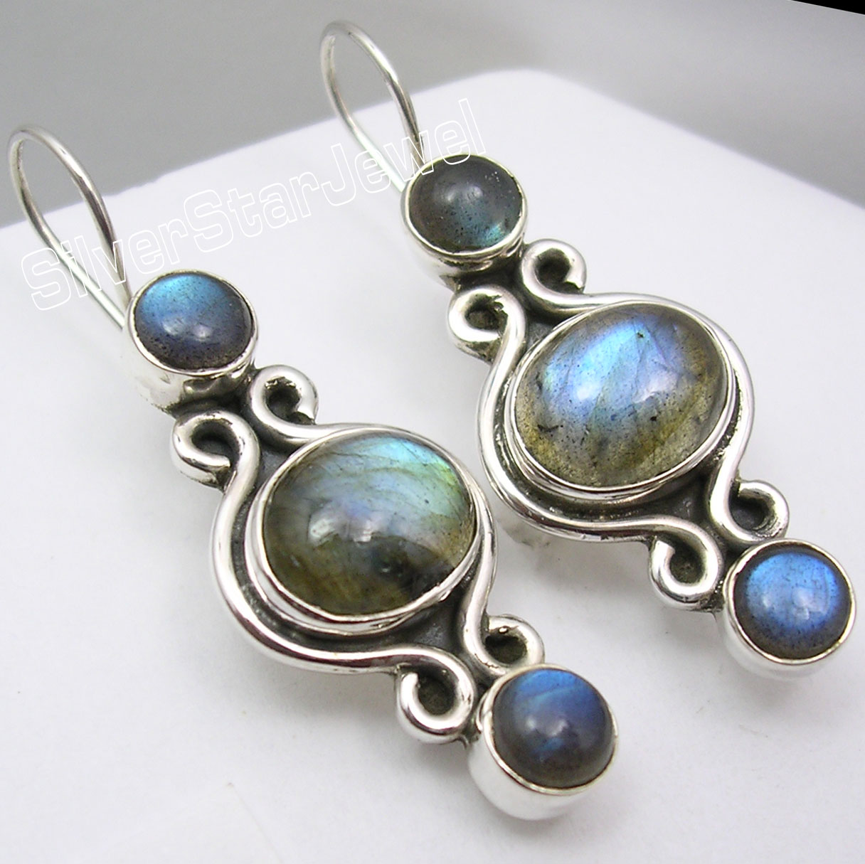 Solid Silver NATURAL BLUE FIRE LABRADORITE Gem HANDCRAFTED Earrings