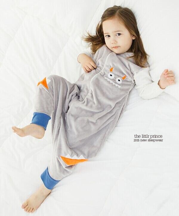 7 видов стилей; детский спальный мешок без рукавов; фланелевые пижамы для маленьких девочек с милым рисунком; спальные мешки для маленьких мальчиков - Цвет: gray monster