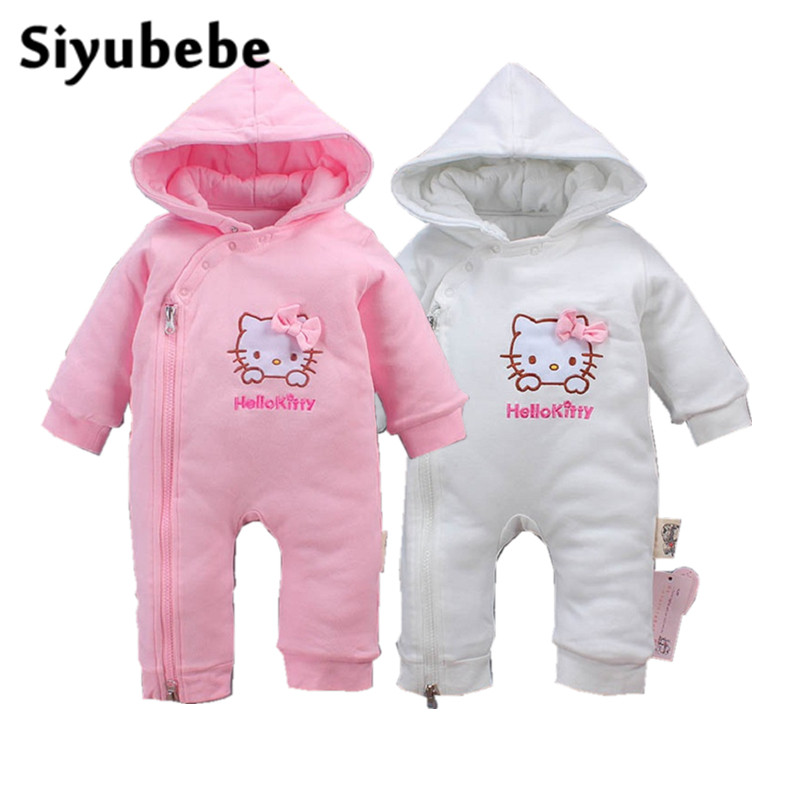 Winter Baby Rompers Cute Hello Kitty Thick Warm Baby Cotton Hooded Jumpsuit Baby Girls Boy Romper Newborn Toddle Clothing 0-12M winter baby rompers organic cotton baby hooded snowsuit jumpsuit long sleeve thick warm baby girls boy romper newborn clothing