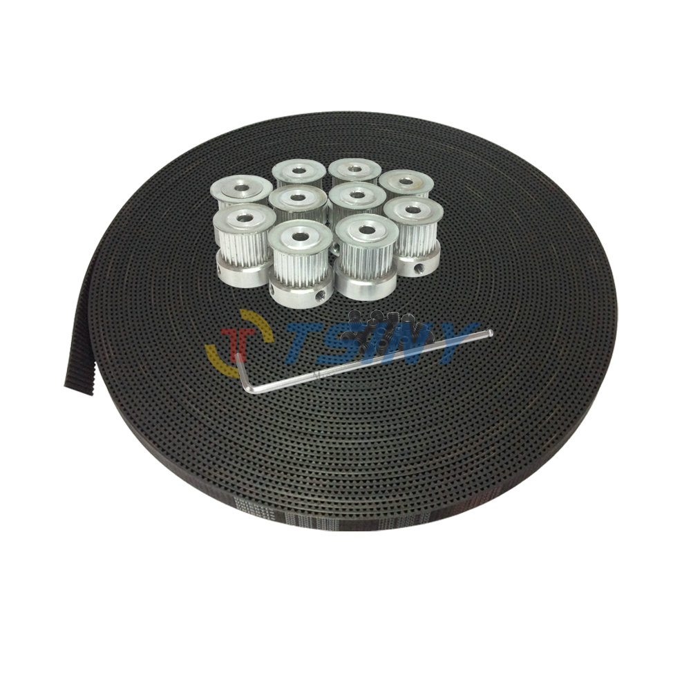 HTD 3M Timing Belt Pulley Kits 16 Tooth Pulley Bore 6mm 6.35mm 8mm 10Pcs & 3M Open Ended Black Rubbet Synchronous Belt 10 Meters