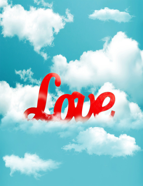 5x7ft White Clouds Turquoise Sky Love Wedding Valentine Day Custom