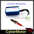 Blue Aluminum 6 Pin AC Ignition CDI Box Red D8TC Spark Plug For cg 125cc 150cc 200cc 250cc Engine Pit Dirt Motor Bike ATV Quad