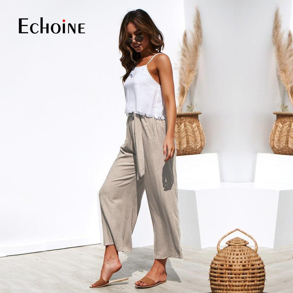Casual Cotton Linen women high waist wide leg pants summer autumn office band loose palazzo trousers