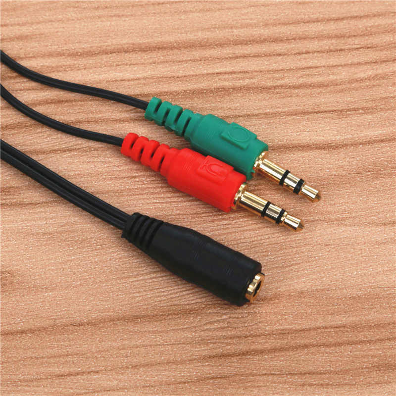 FFFAS 3.5mm 2 Male to 1 Female Audio Cable Converter 3.5 Earphone Aux Jack Microphone MIC Adapter for PC Computer Latop Notebook