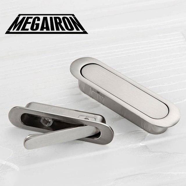 MEGAIRON Tatami Hidden Door Handles Zinc Alloy Recessed Cabinet Door Handle  Fashion Cupboard Knobs With Screws