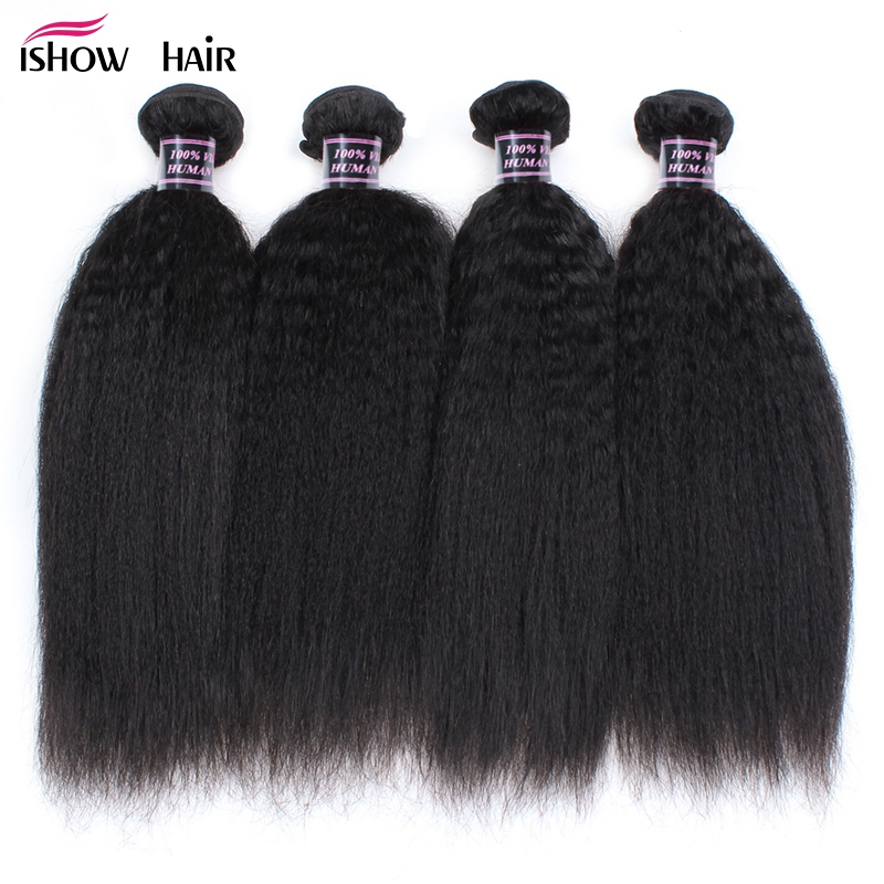 Ishow 4 Bundles Raw Indian Yaki Straight 100% Human Hair Weave Bundles Natural Color Non Remy Hair Extensions Factory Price