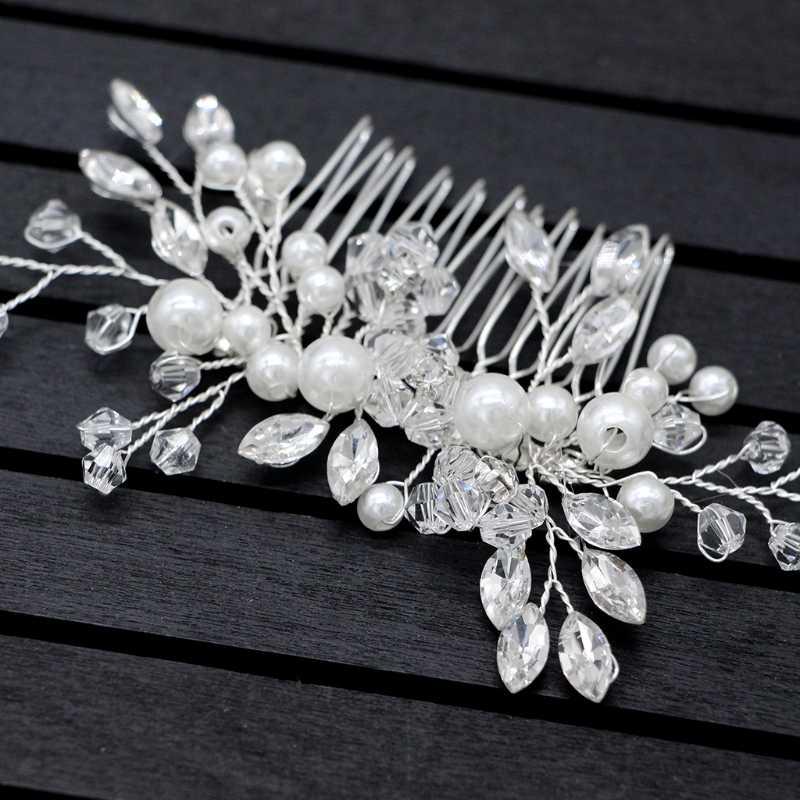 Elegant Wedding Hair Combs สำหรับเจ้าสาวคริสตัล Rhinestones ไข่มุกผู้หญิง Hairpins เจ้าสาว Headpiece เครื่องประดับผมอุปกรณ์เสริม