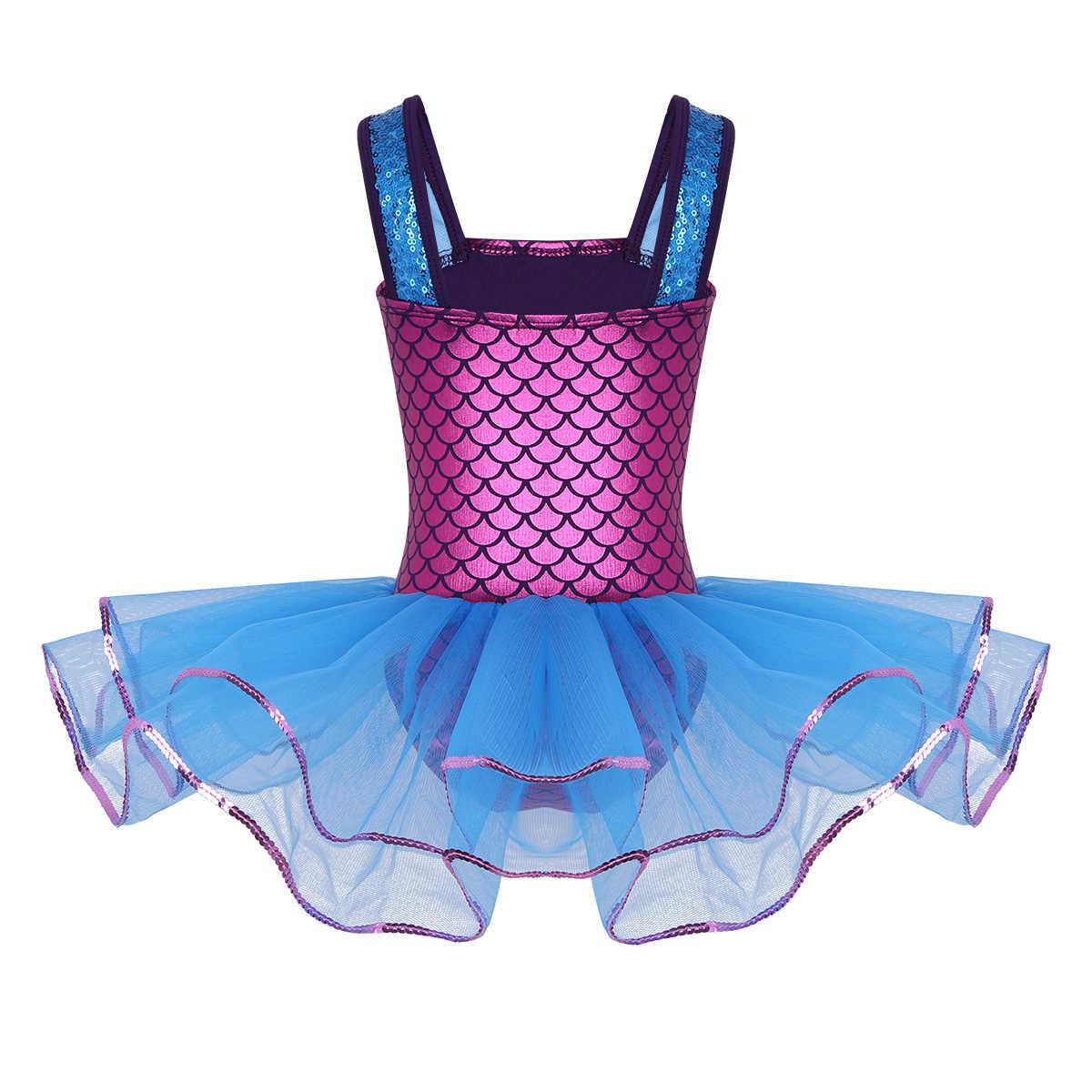 Детская Русалка Блестки для подростков, широкие лямки, балетное платье для танцев, профессиональное балетное платье-пачка, гимнастическое трико, платье для девочек