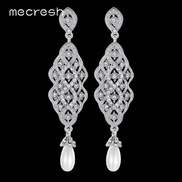 Mecresh Imitiert Perle Kristall Lange Ohrringe Fur Frauen