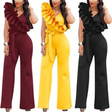 20dd8a1a24a YSMARKET Ruffles Sexy Formal Jumpsuit Women Sleeveless Long Pants Bodycon  Sexy Rompers Summer Party Overalls With