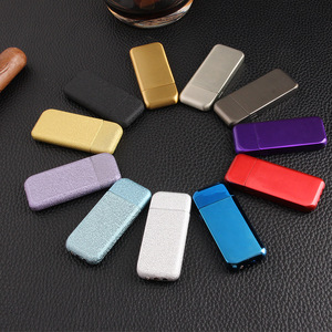 Image 2 - Ultra Thin Compact Jet Butane Lighter Grinding Wheel Lighter Inflated Gas Frosted Mini Lighter Bar Metal NO GAS