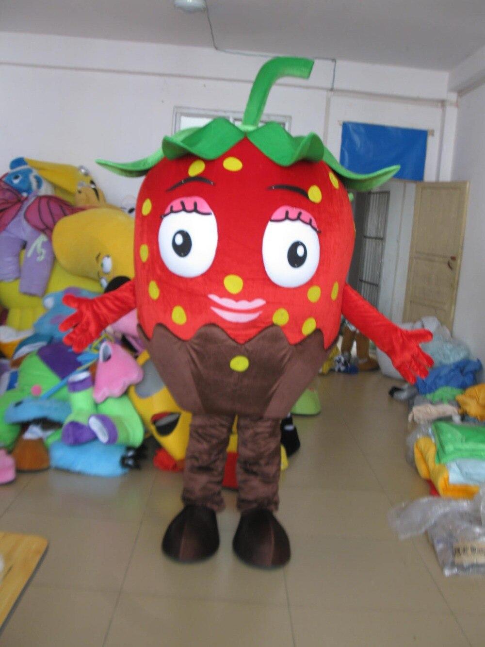 Costumes de mascotte de fraise rouge costumes de fruits de dessin animé