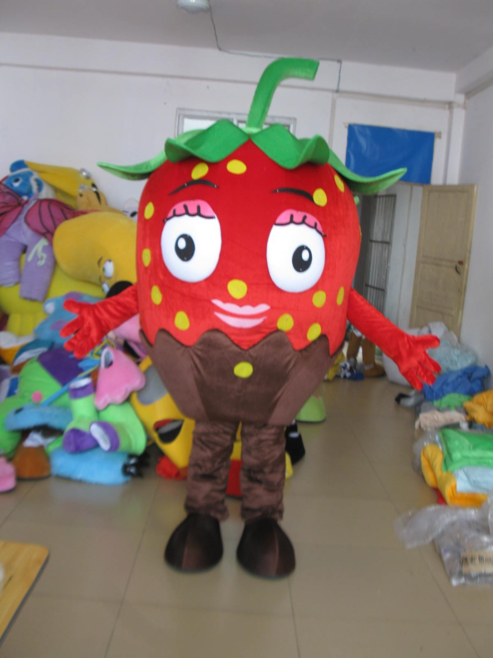 red strawberry mascot costumes cartoon fruit costumes