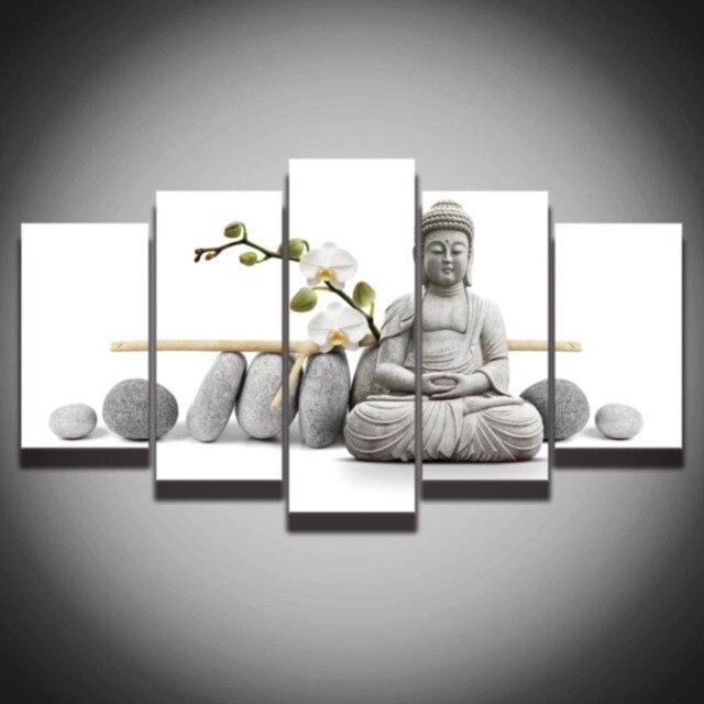 5 Panel Canvas Art Stone Buddha Meditation Artistic Painting ...