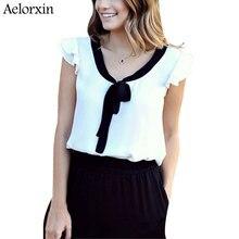 Aelorxin 2019 Summer Blouse Women White Chiffon Blouses Bow Elegant Office Blouse Women Tops Shirt Women Blusas Mujer