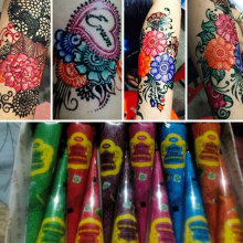 Henna Tattoo Paste Cones, Indian Mehndi Tatoo Cream Red Blue Purple Orange Green Color Henna Paste Kit For Body Paint