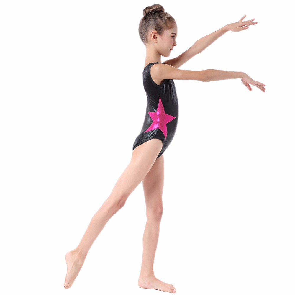 Kids Girl Formal Ballet Dance Fashion Sleeveless Star Patchwork Gymnastics Leotard Jumpsuit For Kids Costumes Tutu Bodysuit A24