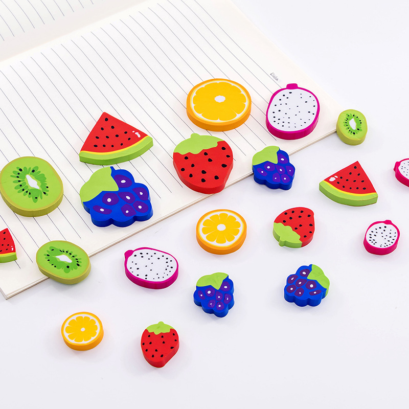 Creative Watermelon Kiwi Fruit Style Rubber Pencil Eraser Prizes For Kids Student Study Material Kawaii Stationery