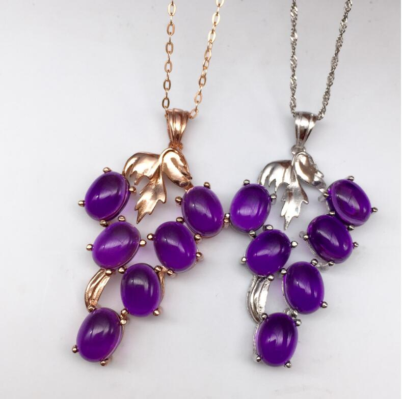 Free shipping Natural real amethyst pendant 925 sterling silver Love heart style 6*8mm 6pcs цена и фото