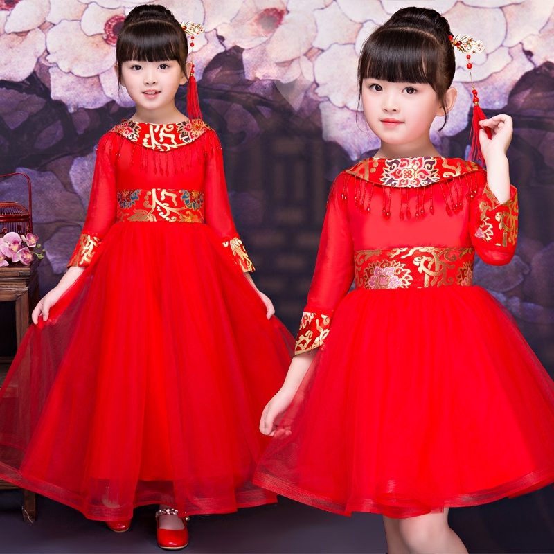 2017New Children Girls Chinese Style Qipao Cheongsam Red Color Princess Long Party Dress Kids New Year Halloween Festival Dress dress coat traditional chinese style qipao full sleeve cheongsam costume party dress quilted princess dress cotton kids clothing