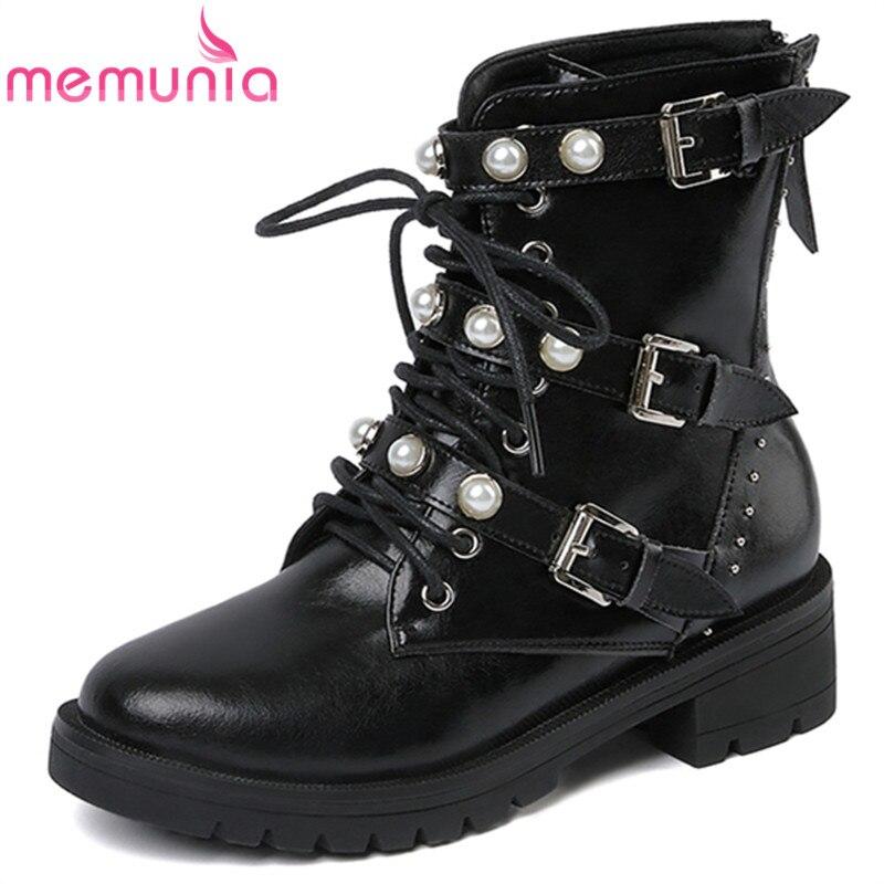Memunia Hiver Up Femmes Mode Fur With 2019 Pour Bout Not Rond Lace Bottes  Moto Nouvelle Cheville Vache Cuir Black Arrivée Fur black En Chaussures  Automne ... eb6af2b93cc9