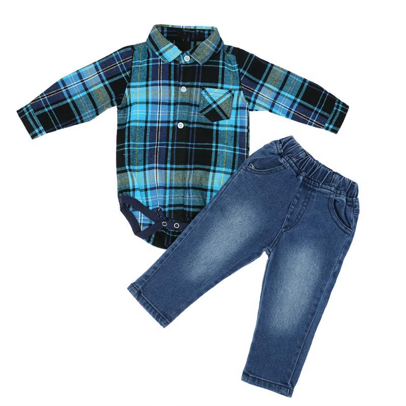 2pcs Spring Autumn Baby Boys Long Sleeve Plaid Warm Soft Romper + Denim Jeans Pants Suit Kids Boy Clothing Set