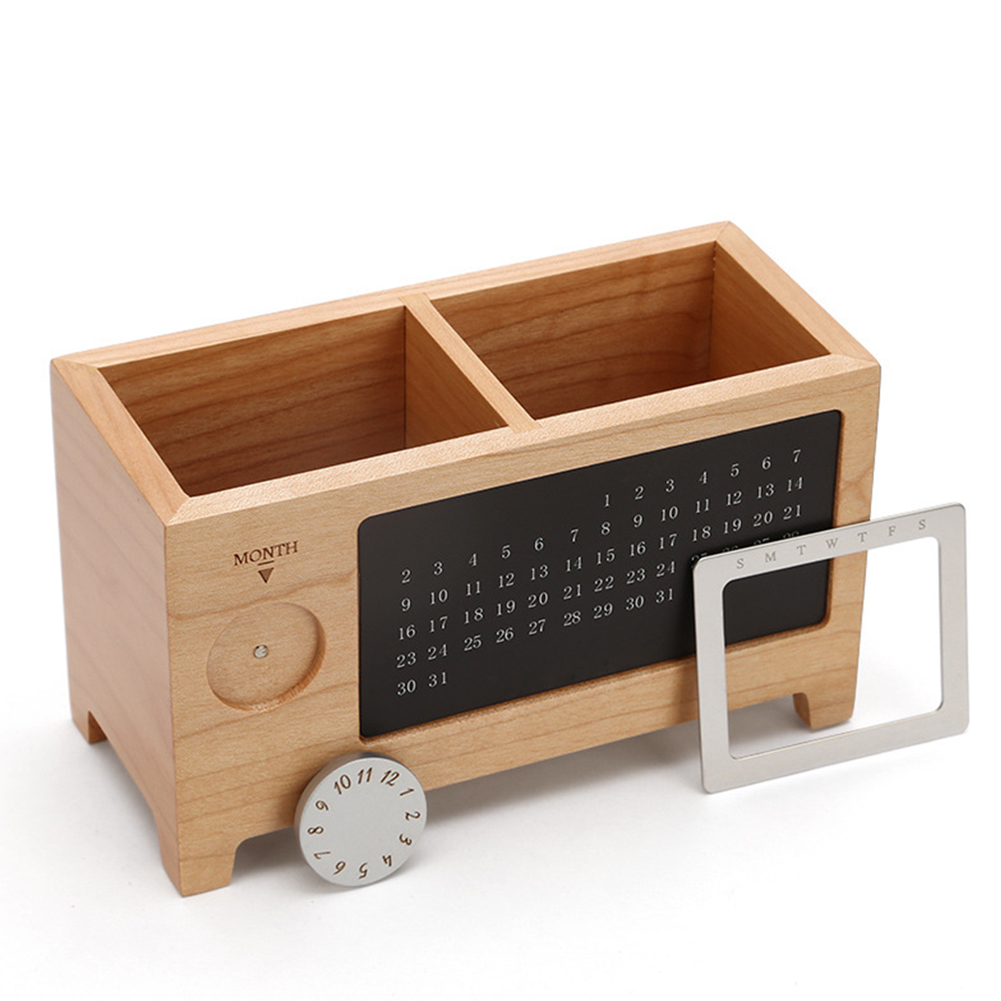 Wooden Ornaments Storage Box Table Gift Container Multiuse Pen Pencil Holder Desk Organizer With Calendar Rectangular PracticalWooden Ornaments Storage Box Table Gift Container Multiuse Pen Pencil Holder Desk Organizer With Calendar Rectangular Practical