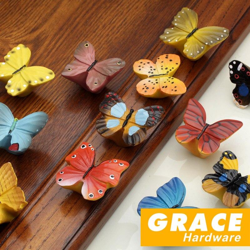 Красочные и красивая бабочка смолы рука Прекрасный Детская комната мультфильм пасторальный стиль деревне Шкаф ящика ручки