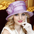 French Style Purple Elegant Large Brimmed Kentucky Derby Hats Summer Wedding Hat