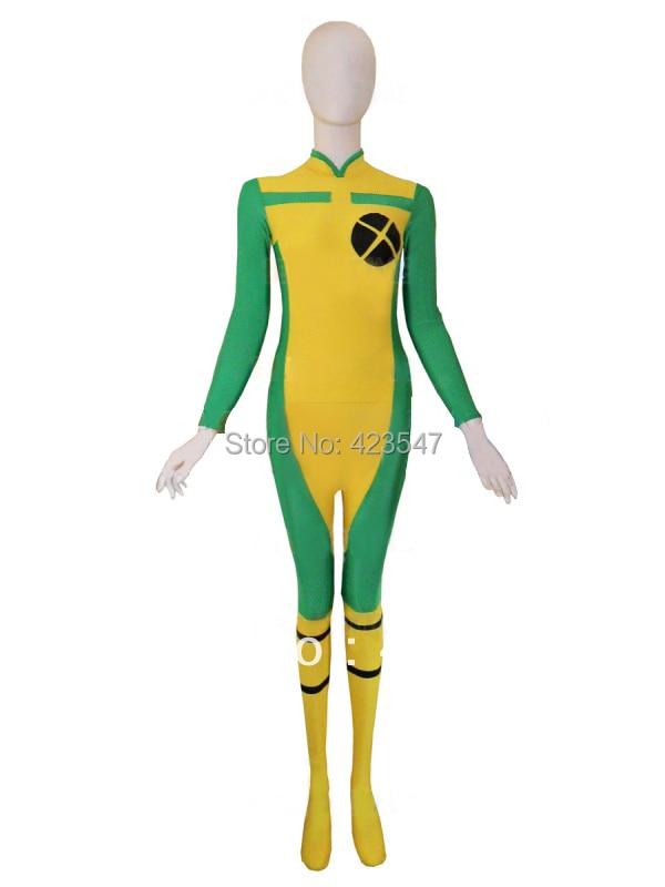 X-men Rogue Spandex Super Qəhrəman Halloween - Karnaval kostyumlar - Fotoqrafiya 1