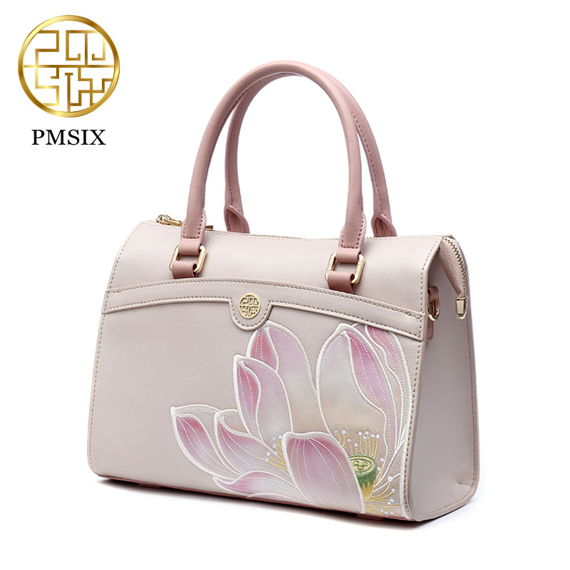 Pmsix Summer Women Bag New National Embroidery Handbag Delicate Flower Embroidered Cowhide Shoulder Bag Lady's Bag P120112  Pink summer women handbag 100