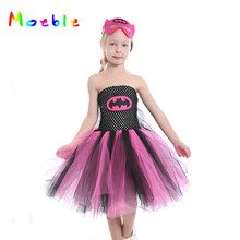 Moeble Super Hero Girl Tutu Dress with Mask Kids birthday Party Dresses Halloween Children Cosplay Costume Princess Prom