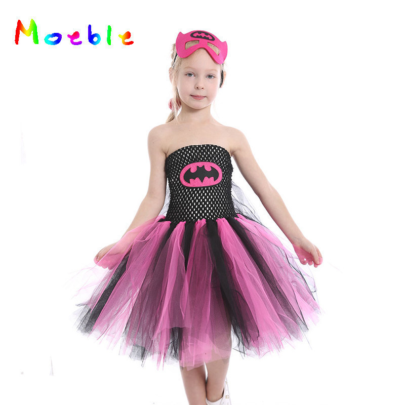 0c748a6a0c2 Super Hero Batgirl Girl Tutu Dress with Mask Kids Party Dresses for  Halloween Girls Children Cosplay
