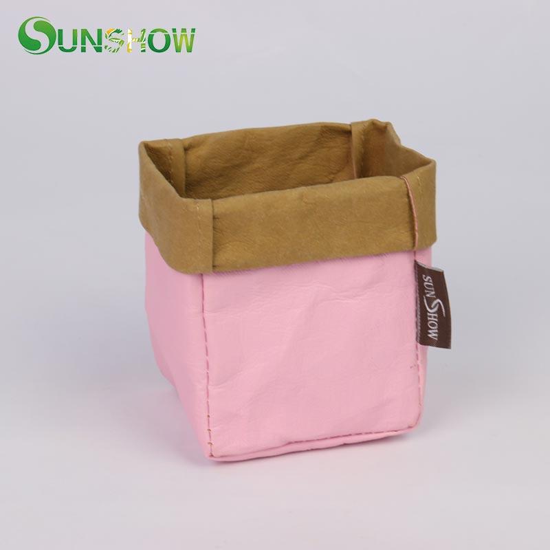 Kraft Paper Storage Bags Pink Color Laundry Bag Toys Clothes Organizer Pouch Washable Eco friendly Basket Plants Flowerpot Bag