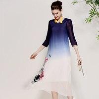 Для женщин Красивые платья летние винтажные королевская вышивка цветочный элегантные женские синий/черный градиент Онлайн Шелковый празд
