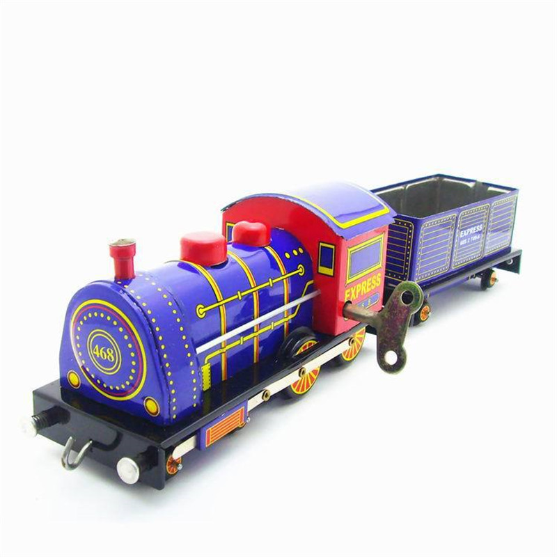Vintage Clockwork Wind Up Steam Locomotive toys Photography Children Kids Adult Locomotive Tin Toys Classic Toy Christmas Gift