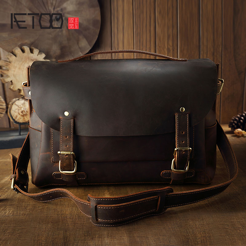 AETOO Handmade leather Cambridge Baotou cowhide retro handbag shoulder bag mad horse leather messenger bag postman