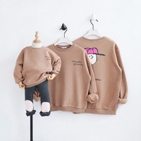 2017 Christmas Family Look Cartoon Mommy and Me Clothes Matching Family Clothing Sets Mother Daughter Father Baby T shirt