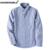 SHOWERSMILE Plus Size Blue Striped Shirt With Pockets 6XL Loose Casual Full Sleeve Shirt Mens 5XL Autumn Big Size British Style