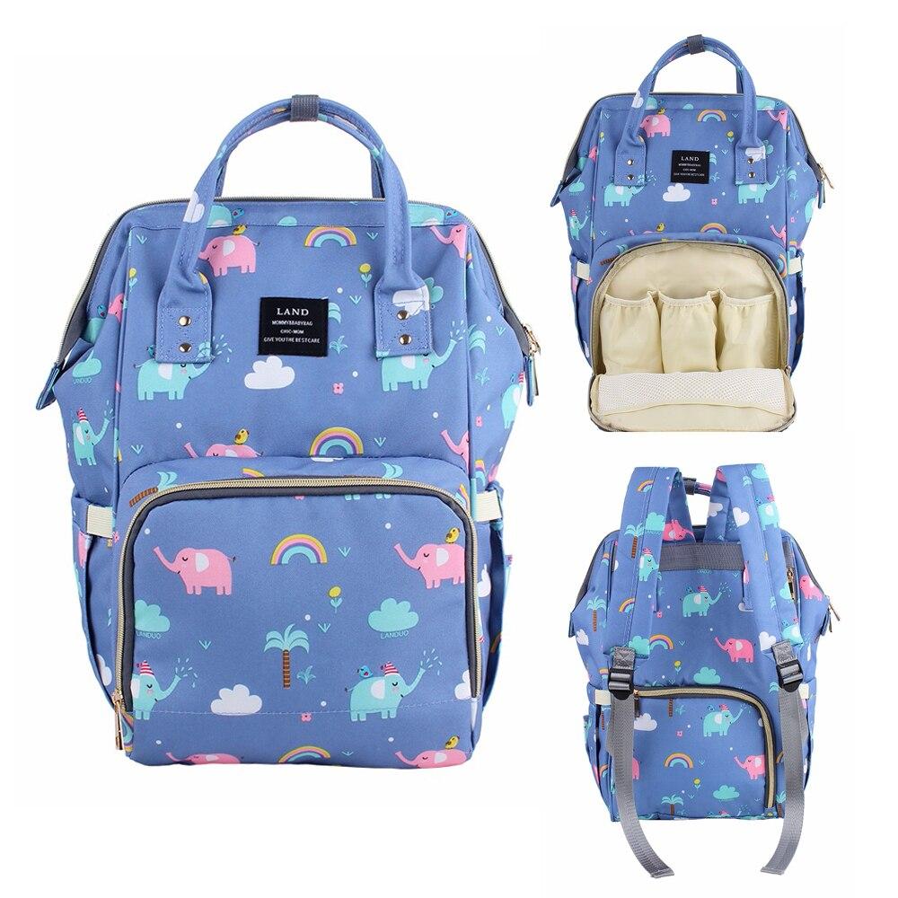 LAND Cartoon Diaper Bag Large Capacity Baby Nappy Bags Brand Quality Nursing Bag Fashion Travel Backpack Baby Care Mom Handbag