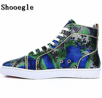 SHOOEGLE New Snakeskin Men Sneakers Casual Espadrilles Printing Platform Men Ankle Boots High Quality Shoes Zapatillas Hombre