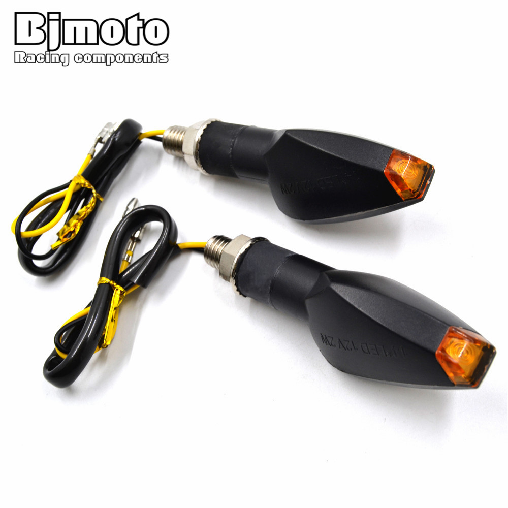 BJMOTO Pair Universal Motorcycle Super Bright 14 LED Turn Signal Lights Indicator Amber Blinker Lamp Easy To Install SL-069S