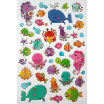 Classic toys Sea World Sea fish stickers Marine animal sticker toy Cute fish girl toys gift whale hippocampi Sea turtle stickers