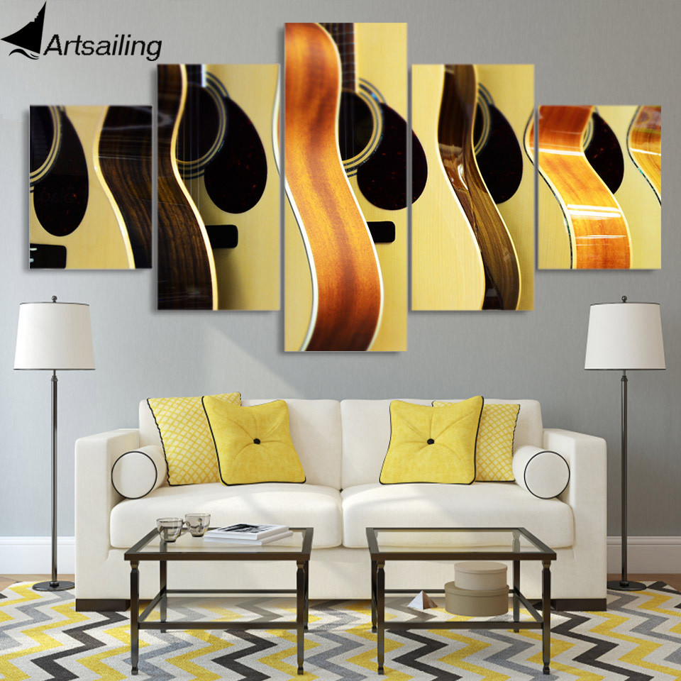 5 piece canvas painting guitars display poster home decor wall art ...