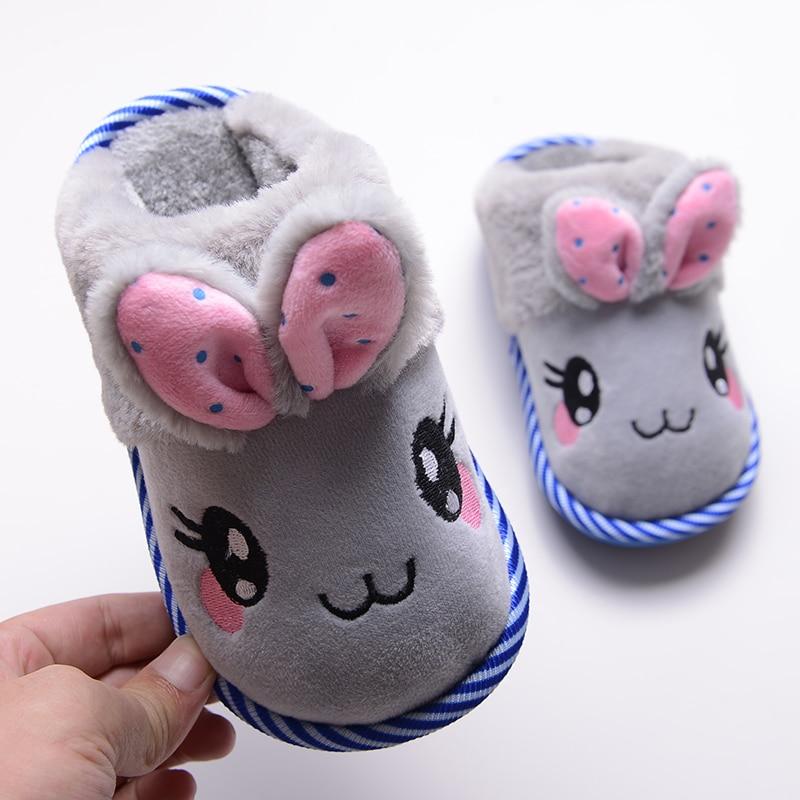 Autumn/winter children home slippers shoes kids cute cartoon cotton slippers boys girls baby warm thicken velvet indoor slippers