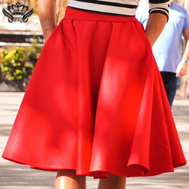 e1dbe1559 Falda acampanada negra Lisa roja plisada faldas Midi Casual elegante  señoras de cintura alta Skater ...