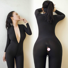 2017 New Women Sexy Lingerie Open Crotch Black Striped Sheer Bodystocking Bodysuit