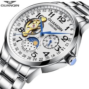 Image 2 - 2019 mode GUANQIN Herren Uhren Top Brand Luxus Skeleton Uhr Männer Sport Leder Tourbillon Automatische Mechanische Armbanduhr
