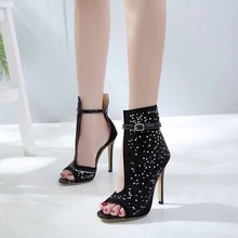 Aidenkid 2019 summer explosion models ladies sandals fish mouth rhinestone stiletto heels large size 43